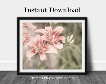 Printable Flower Art; Wall Art Prints Floral; Bathroom Printable; Entryway Prints; Flower Wall Art; Botanical Prints; Instant Download; Pink