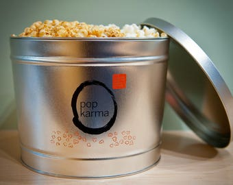 Gourmet All-Natural Popcorn Tin - 2 Classic Flavors - Original and Caramel - 2 Gallons
