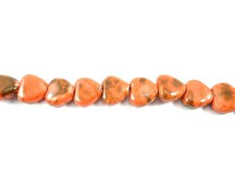 porcelain heart shaped beads, 5 orange mottled ceramic beads, porcelain bead