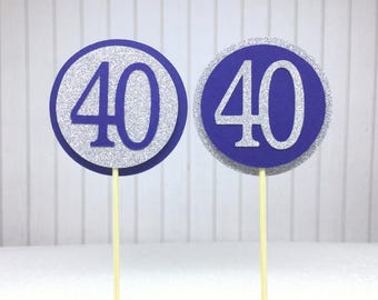 """40th Birthday Cupcake Toppers - Silver Glitter & Navy Blue """"40"""" - Set of 12 - Elegant Cake Cupcake Age Topper Picks Party Decorations"""