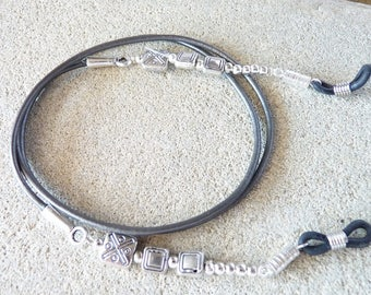 Grey leather, Leather eyeglasses chain cord glasses jewelry