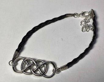 Triple leather infinity bracelet