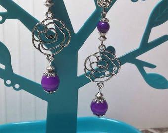 Earrings pink and purple jade beads