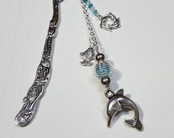 Dolphins and Blue Crystal bookmark