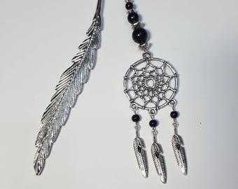 Bookmark feather dream catcher black pearls