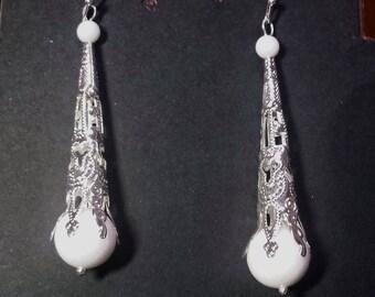White onyx beads and filigree earrings