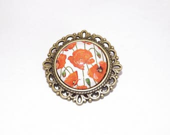 brooch * pinned * bronze * glass cabochon * 2 cm * poppies