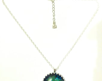 Blue Green silver glitter and painted black, green cabochon necklace