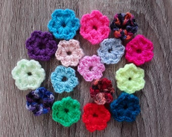 Set of small flowers crochet handmade