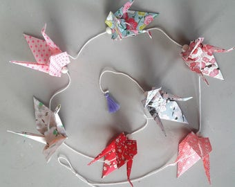 Garland origami cranes Japanese paper - flowers and stars with dominant pink
