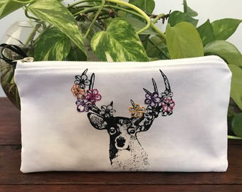 Embroidered Stag Zipper Purse