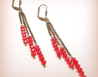"Earrings Crystal and bronze ""farandoles Red Crystal!"""