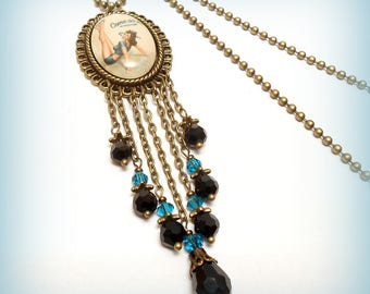 """""""Pin Up Come On In"""" glass Cabochon necklace"""