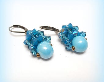 """""""Turquoise shimmering"""" crystal earrings"""