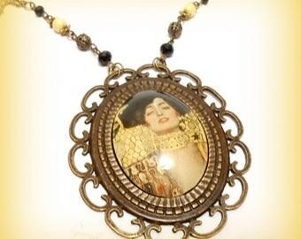 """Necklace Plastron Cabochon glass """"Klimt - Judith!"""""""
