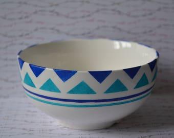 Hand painted Bowl blue geometric pattern