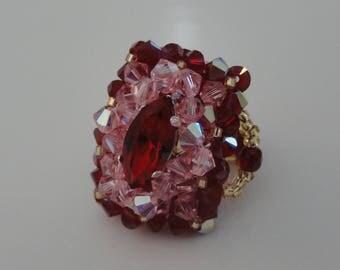 Ring rectangular made hand Alizée Burgundy Red and pink Swarovski Crystal beads