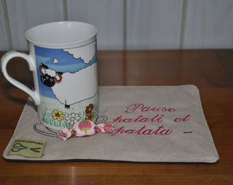 """Coffee is """"Break so forth and so"""", beige and sweet Strawberry"""
