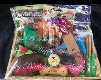 Deluxe Handmade Large Dog Treat Gift Hamper Inc Quality Soft Squeaky Plush Toy