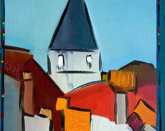 Bell Tower. Oil on canvas mounted on hardboard