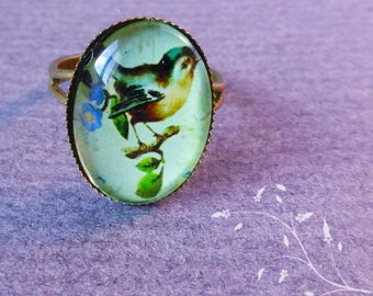 Ring adjustable vintage - bronze bird