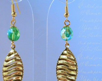 Gold leaf and Crystal - Green