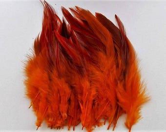 set of 10 orange feathers mixed 10-15cm