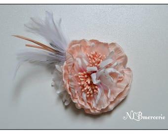 Fleur Barrette bibi plumes rose