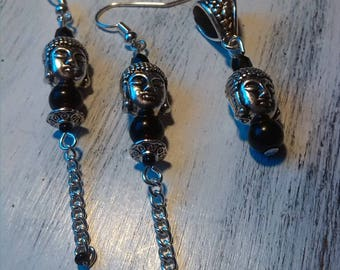 ZEN set earrings and pendant Buddha silver/black