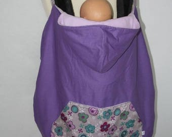 Blanket cape universal Babywearing violet and small flowers