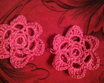 Pink Crochet Cotton Flower Earrings