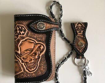 Biker wallet handmade tooled leather (16cm) pattern: ghost rider