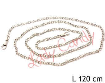 Chain shoulder strap 120 cm silver color with carabiners clutch #330163