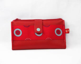 Red faux leather checkbook wallet