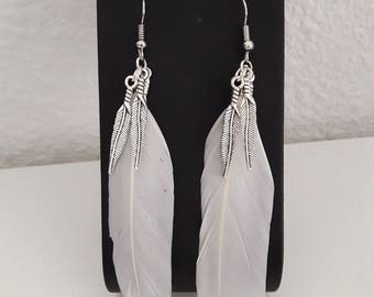 White and silver feather earrings