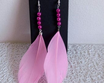 dangle earrings pearls and pink feathers