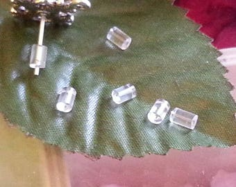 10 clasps, end caps to close the earring in plastic, clear, 3 x 3 mm, hole: 0.7