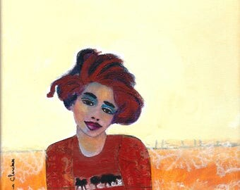 Valentine portrait woman on canvas 20 x 20 cm