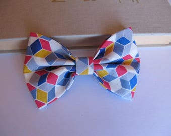 Bow tie, 2 in 1 graphic red and blue hair clip