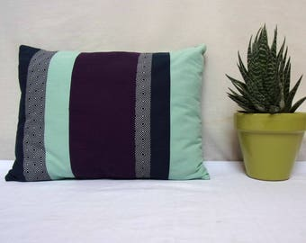 Cushion deco Mint green and purple patchwork
