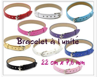 Bracelet leather look crocodile white 22 cm x 7.6 mm individually