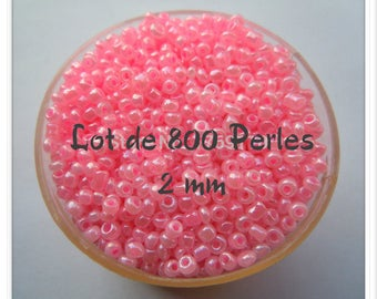 Bag of 10 grams approximately 800 beads of rock Rose Pale 2 mm