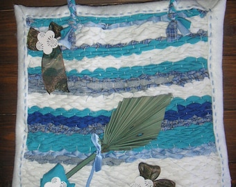 Wall Deco fabric, weaving, ombre blue kiki