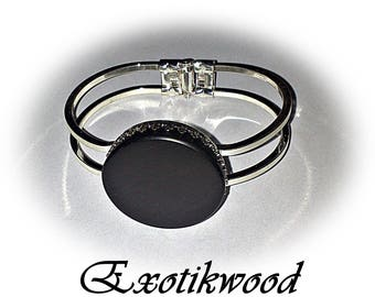 Bracelet adjustable cabochon Gabon ebony wood