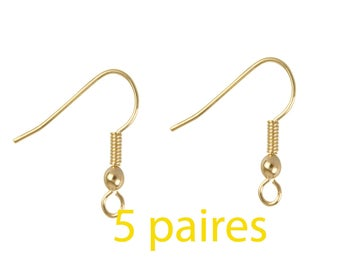 5 pair gold plated earrings