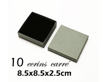 gray box 10 boxes gift inside black jewel with notches for pendants, rings and earrings