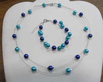 Set necklace bracelet pearls Turquoise Blue Navy wedding jewelry