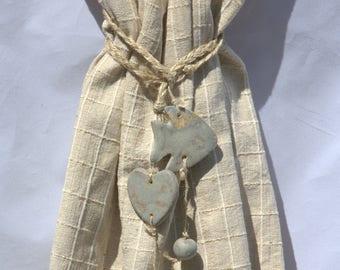 Kiss stoneware blue matte and linen cord
