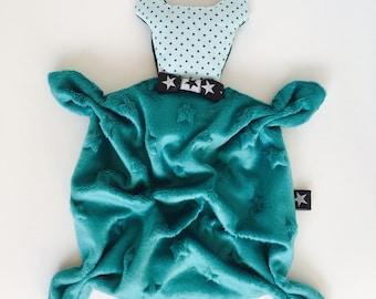 VELVET Teddy bear green and gray baby blanket/plush