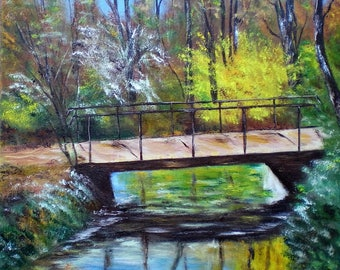 "Painting on canvas ""Bridge in the forest"""